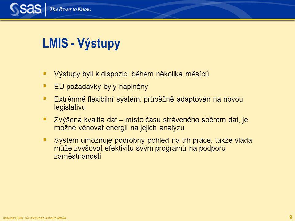 Copyright © 2003, SAS Institute Inc. All rights reserved. 9 LMIS - Výstupy  Výstupy byli k dispozici během několika měsíců  EU požadavky byly naplně