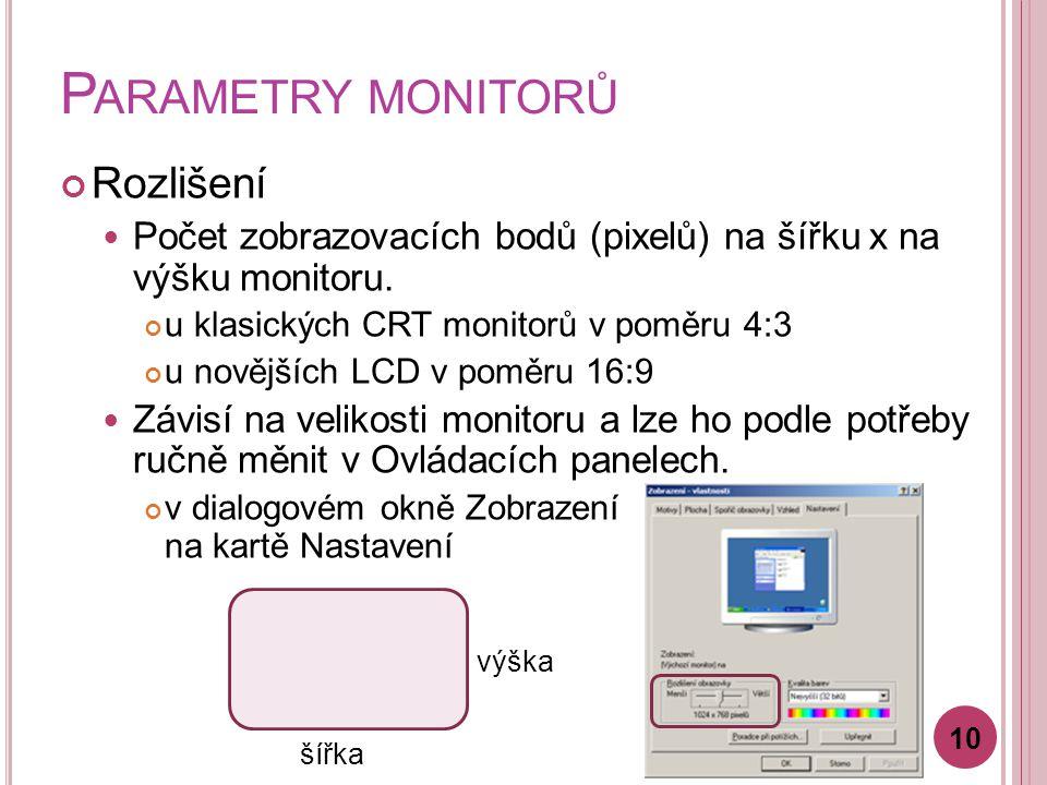 P ARAMETRY MONITORŮ Rozlišení Počet zobrazovacích bodů (pixelů) na šířku x na výšku monitoru. u klasických CRT monitorů v poměru 4:3 u novějších LCD v