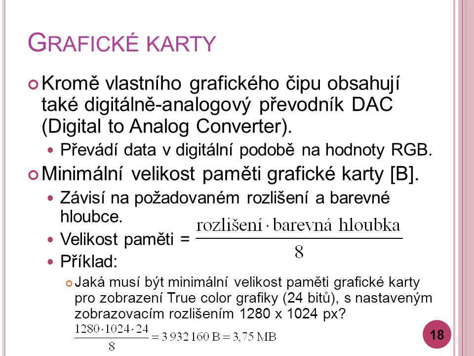 G RAFICKÉ KARTY Kromě vlastního grafického čipu obsahují také digitálně-analogový převodník DAC (Digital to Analog Converter). Převádí data v digitáln