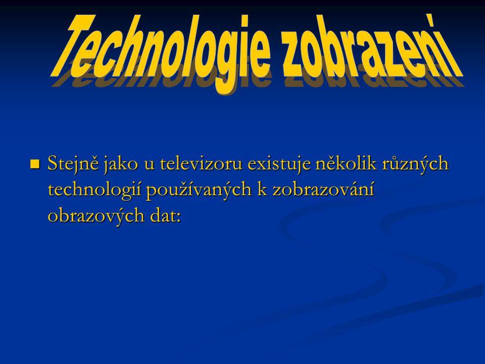 Stejně jako u televizoru existuje několik různých technologií používaných k zobrazování obrazových dat: Stejně jako u televizoru existuje několik různých technologií používaných k zobrazování obrazových dat: