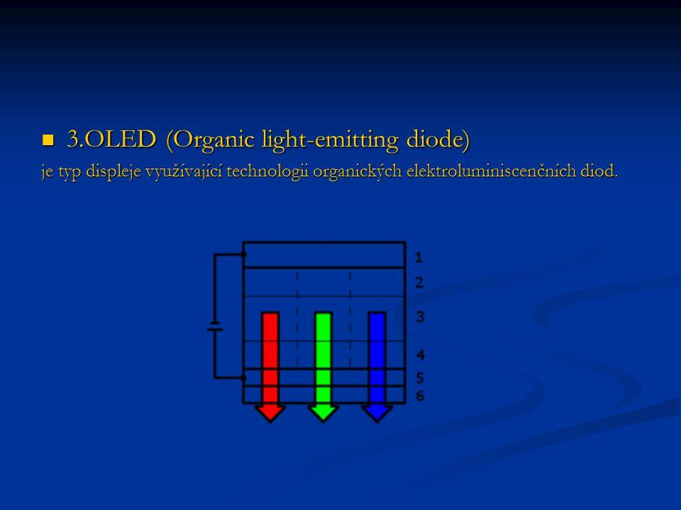 3.OLED (Organic light-emitting diode) 3.OLED (Organic light-emitting diode) je typ displeje využívající technologii organických elektroluminiscenčních diod.
