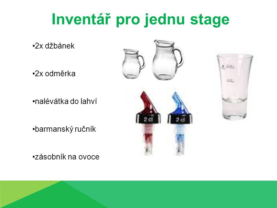 Inventář pro jednu stage 2x džbánek 2x odměrka nalévátka do lahví barmanský ručník zásobník na ovoce