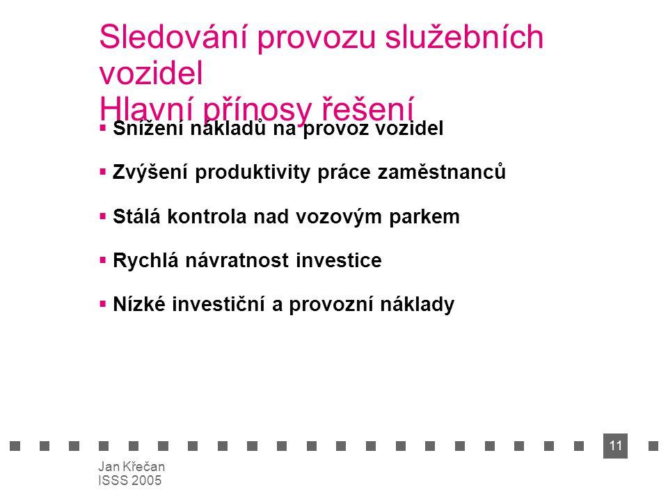 11 Jan Křečan ISSS 2005 Sledování provozu služebních vozidel Hlavní přínosy řešení  Snížení nákladů na provoz vozidel  Zvýšení produktivity práce za