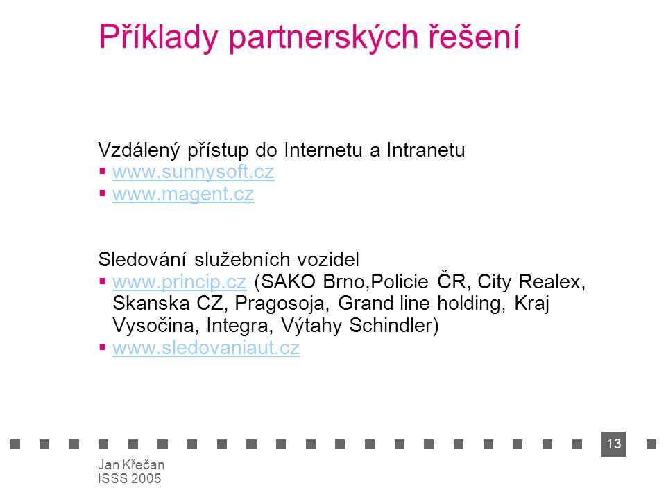 13 Jan Křečan ISSS 2005 Příklady partnerských řešení Vzdálený přístup do Internetu a Intranetu  www.sunnysoft.cz www.sunnysoft.cz  www.magent.cz www