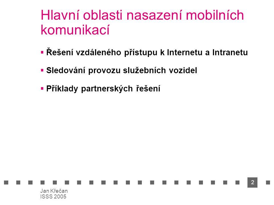 2 Jan Křečan ISSS 2005 Hlavní oblasti nasazení mobilních komunikací  Řešení vzdáleného přístupu k Internetu a Intranetu  Sledování provozu služebních vozidel  Příklady partnerských řešení