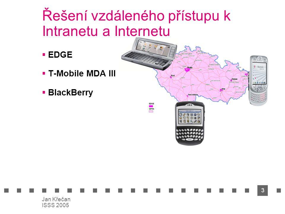 3 Jan Křečan ISSS 2005 Řešení vzdáleného přístupu k Intranetu a Internetu  EDGE  T-Mobile MDA III  BlackBerry