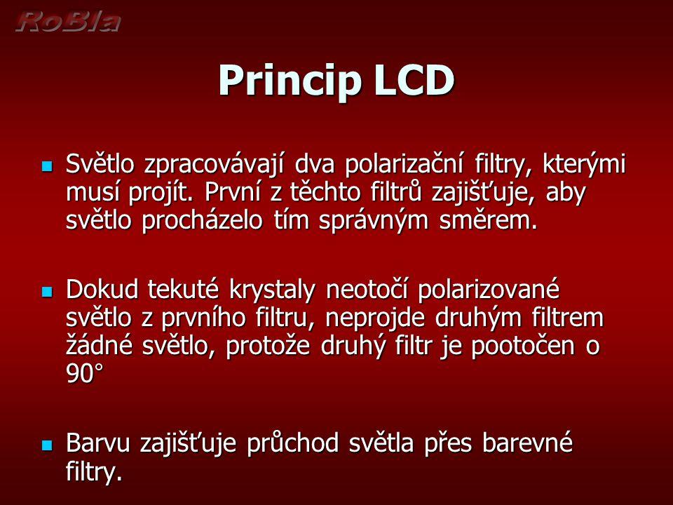 Princip LCD Světlo zpracovávají dva polarizační filtry, kterými musí projít. První z těchto filtrů zajišťuje, aby světlo procházelo tím správným směre