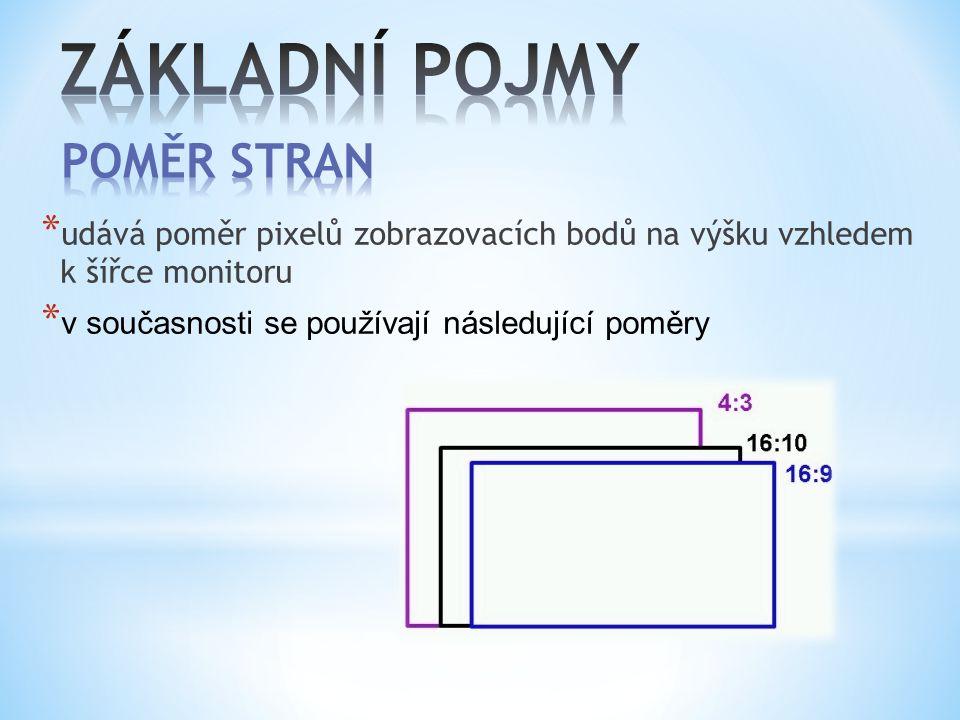 * udává poměr pixelů zobrazovacích bodů na výšku vzhledem k šířce monitoru * v současnosti se používají následující poměry
