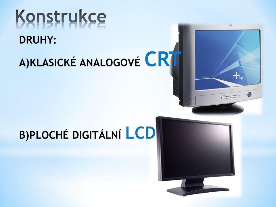 DRUHY: A)KLASICKÉ ANALOGOVÉ CRT B)PLOCHÉ DIGITÁLNÍ LCD