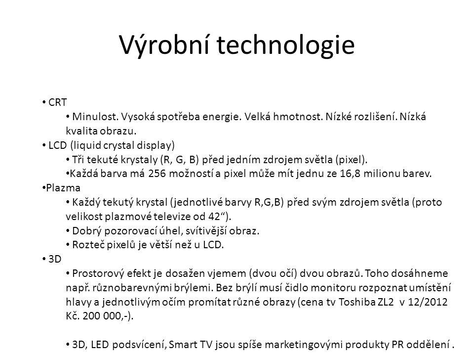Výrobní technologie CRT Minulost. Vysoká spotřeba energie.