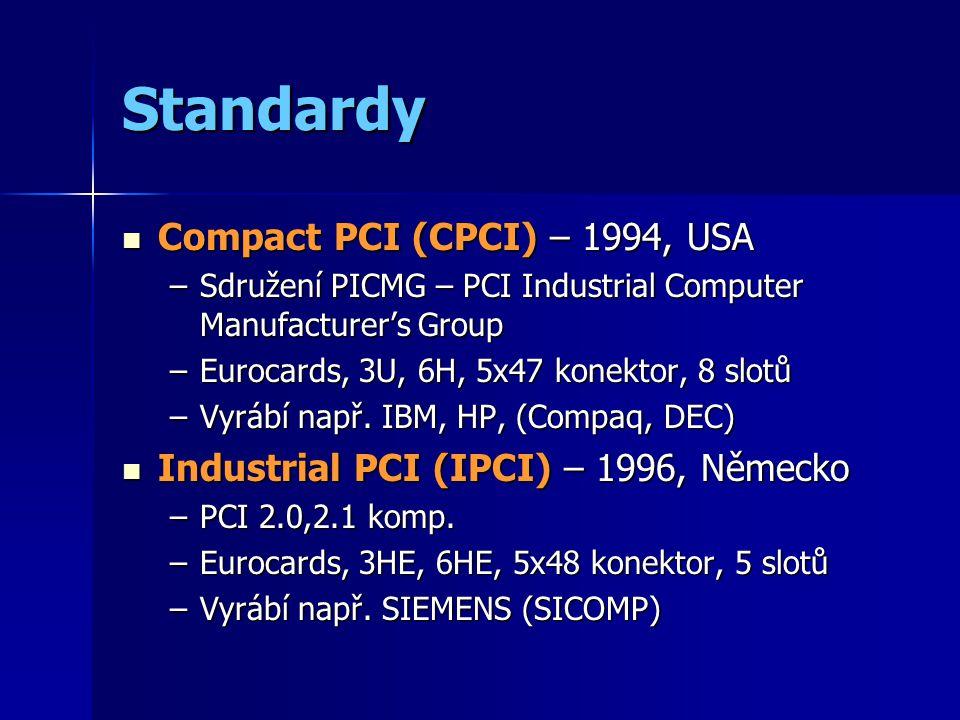 Standardy Compact PCI (CPCI) – 1994, USA Compact PCI (CPCI) – 1994, USA –Sdružení PICMG – PCI Industrial Computer Manufacturer's Group –Eurocards, 3U, 6H, 5x47 konektor, 8 slotů –Vyrábí např.