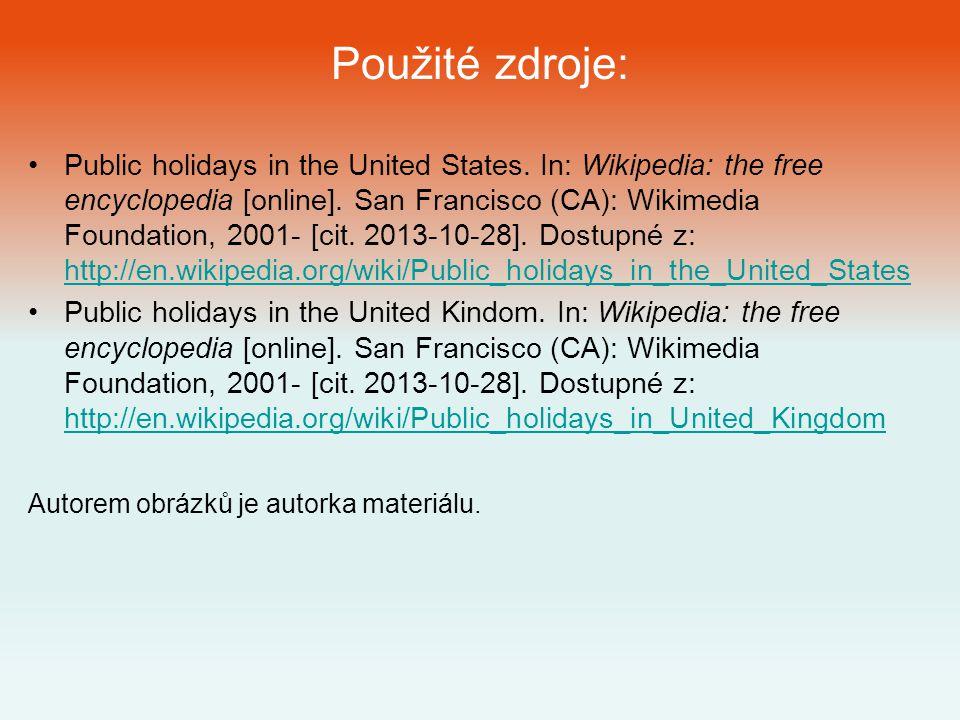 Použité zdroje: Public holidays in the United States.