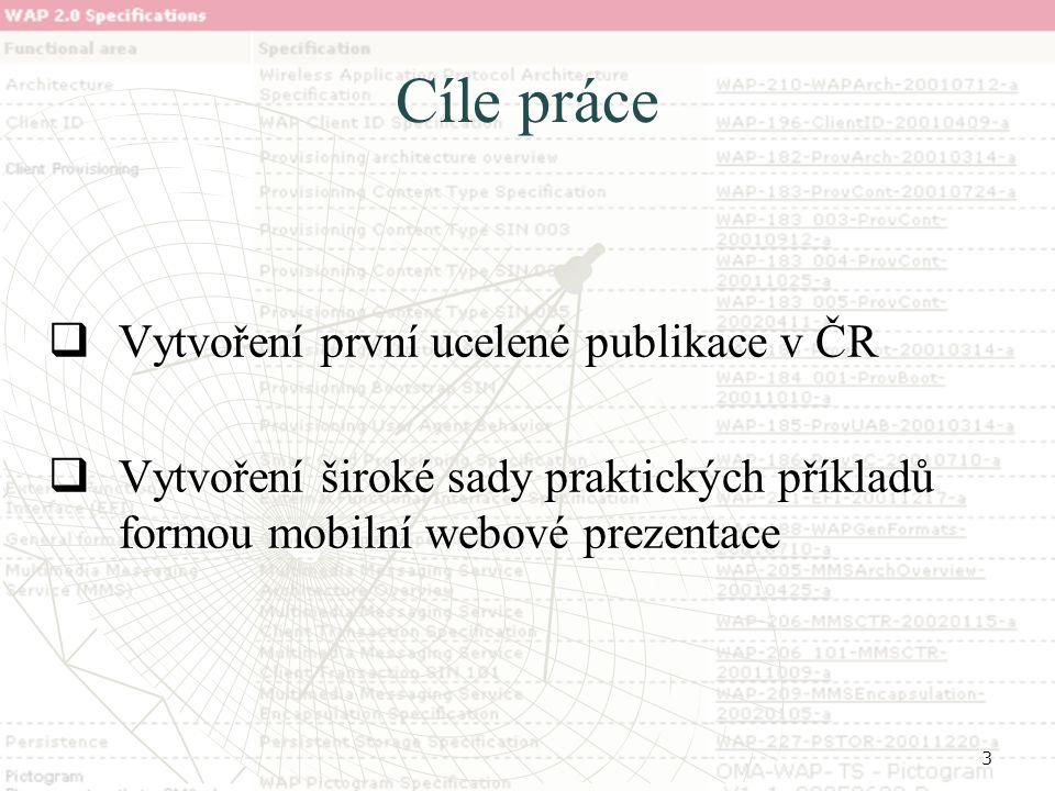 3 Cíle práce  Vytvoření první ucelené publikace v ČR  Vytvoření široké sady praktických příkladů formou mobilní webové prezentace