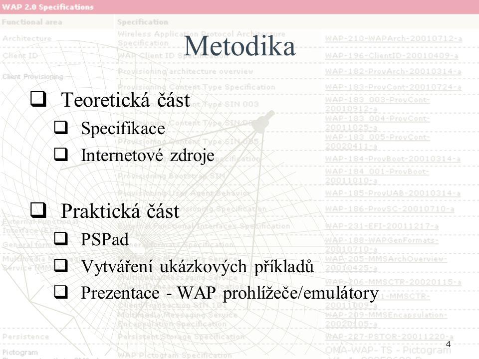 4 Metodika  Teoretická část  Specifikace  Internetové zdroje  Praktická část  PSPad  Vytváření ukázkových příkladů  Prezentace - WAP prohlížeče/emulátory