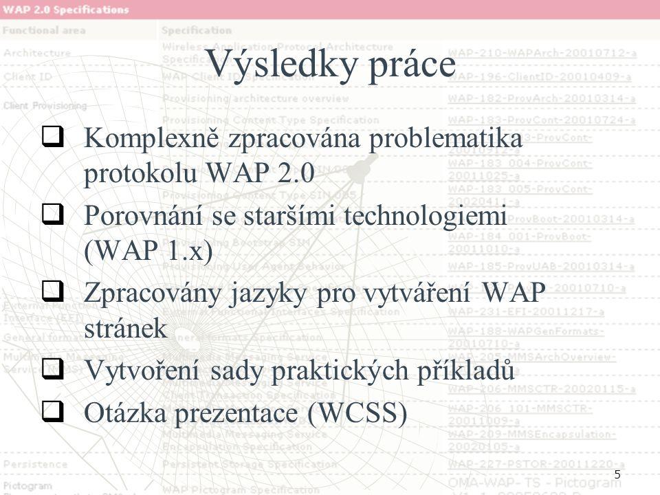 5 Výsledky práce   Komplexně zpracována problematika protokolu WAP 2.0   Porovnání se staršími technologiemi (WAP 1.x)   Zpracovány jazyky pro v