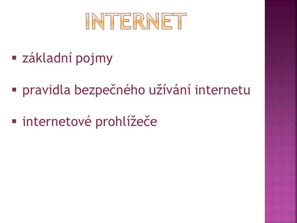  základní pojmy  pravidla bezpečného užívání internetu  internetové prohlížeče