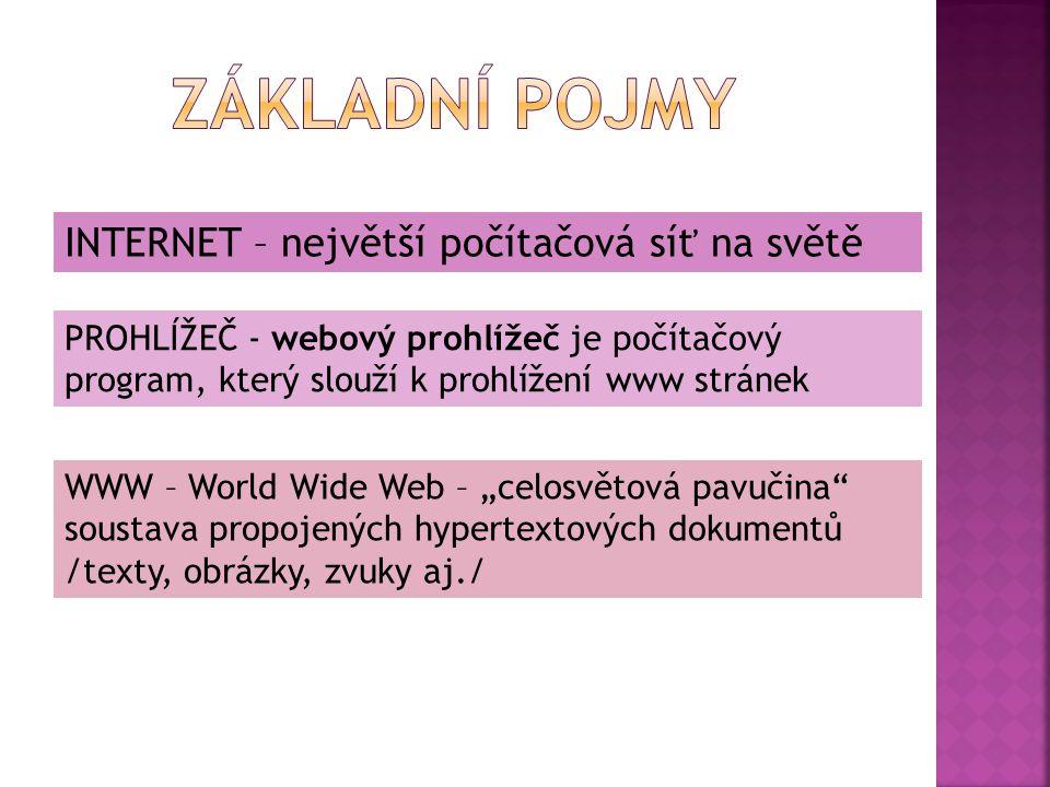 INTERNET – největší počítačová síť na světě PROHLÍŽEČ - webový prohlížeč je počítačový program, který slouží k prohlížení www stránek WWW – World Wide