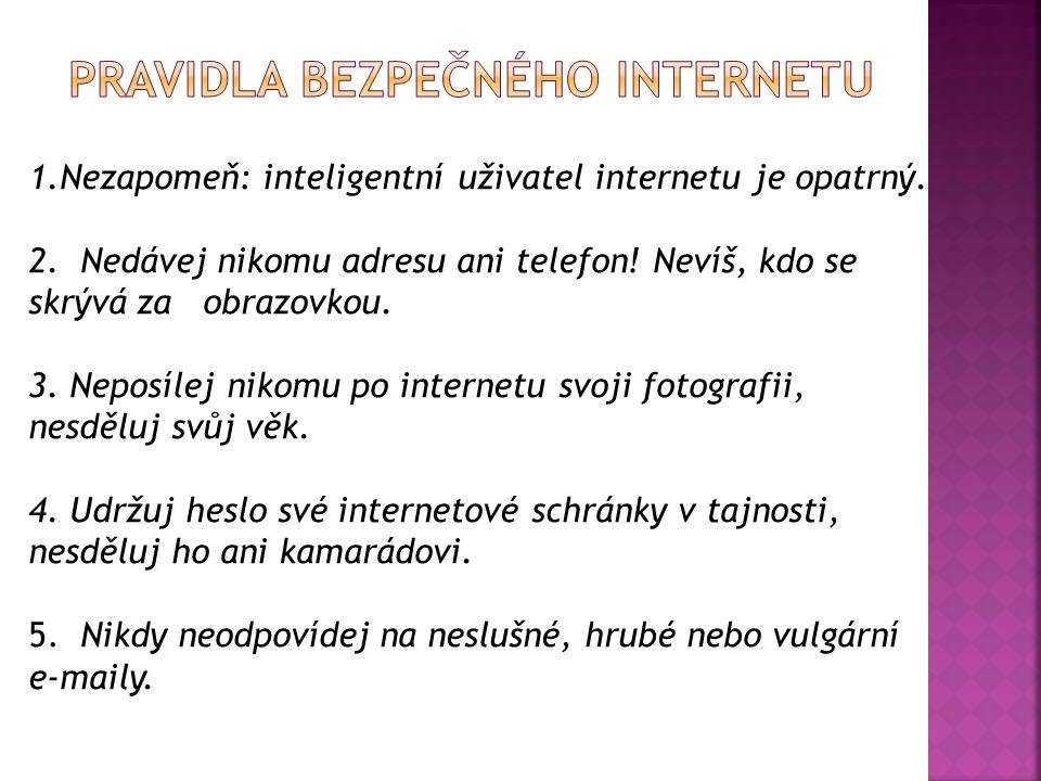1.Nezapomeň: inteligentní uživatel internetu je opatrný. 2. Nedávej nikomu adresu ani telefon! Nevíš, kdo se skrývá za obrazovkou. 3. Neposílej nikomu