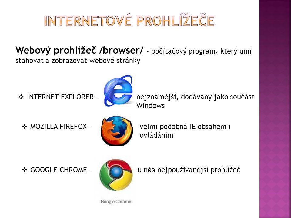 Webový prohlížeč /browser/ - počítačový program, který umí stahovat a zobrazovat webové stránky  INTERNET EXPLORER – nejznámější, dodávaný jako součá