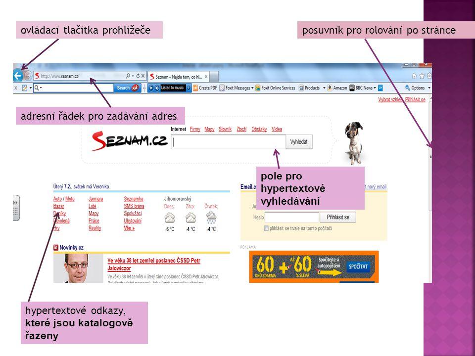 ovládací tlačítka prohlížeče pole pro hypertextové vyhledávání posuvník pro rolování po stránce adresní řádek pro zadávání adres hypertextové odkazy,
