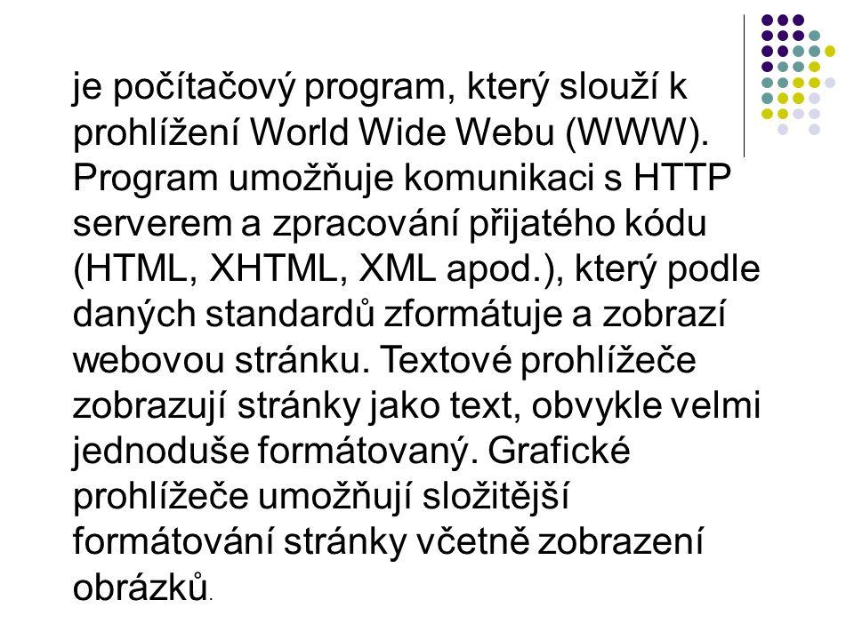 je počítačový program, který slouží k prohlížení World Wide Webu (WWW).