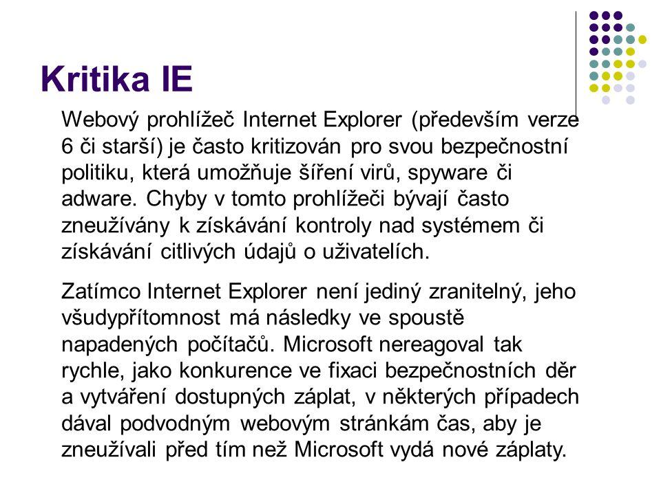 Kritika IE Webový prohlížeč Internet Explorer (především verze 6 či starší) je často kritizován pro svou bezpečnostní politiku, která umožňuje šíření virů, spyware či adware.