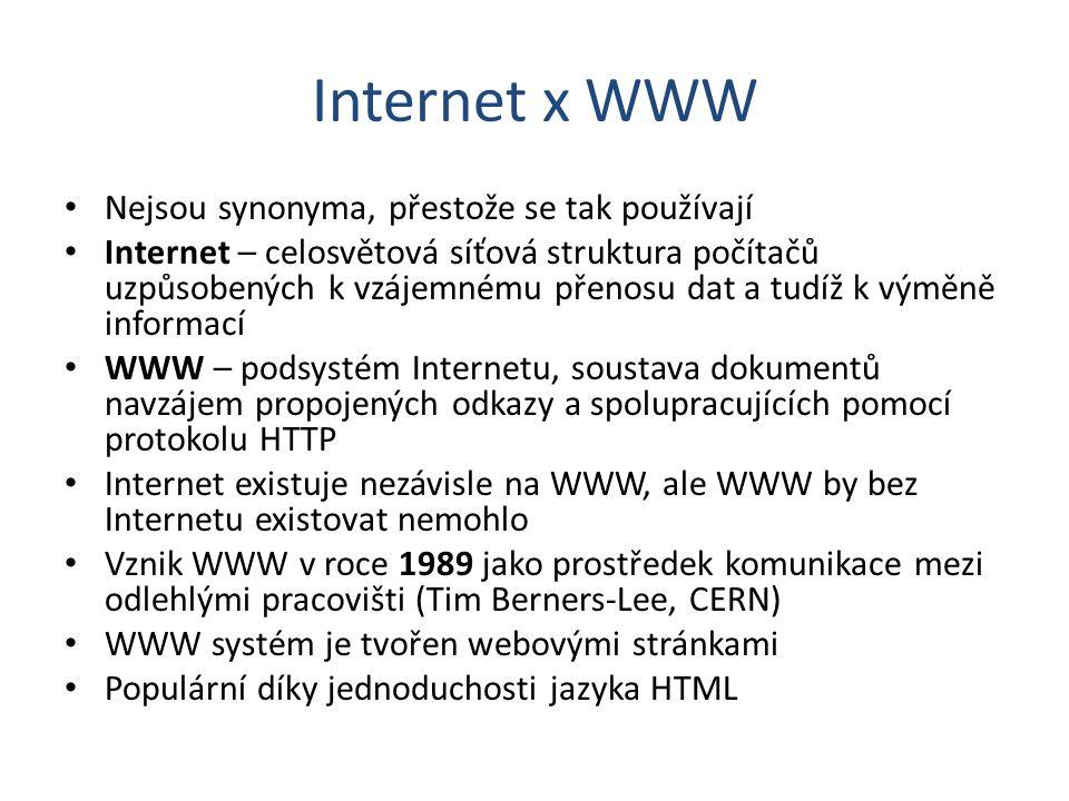 Internet x WWW Nejsou synonyma, přestože se tak používají Internet – celosvětová síťová struktura počítačů uzpůsobených k vzájemnému přenosu dat a tud