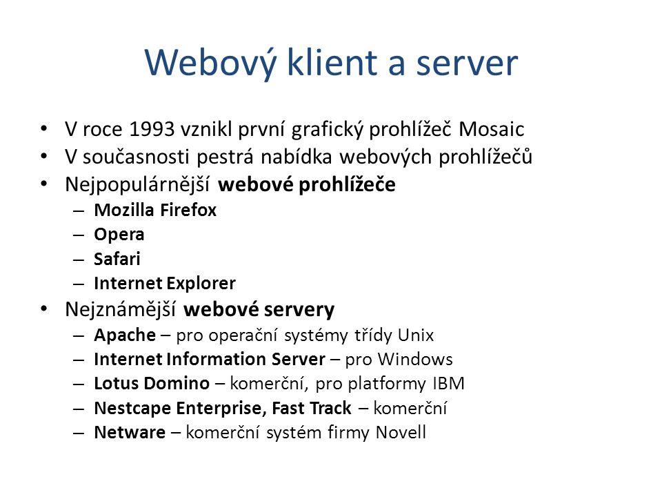 Webový klient a server V roce 1993 vznikl první grafický prohlížeč Mosaic V současnosti pestrá nabídka webových prohlížečů Nejpopulárnější webové proh