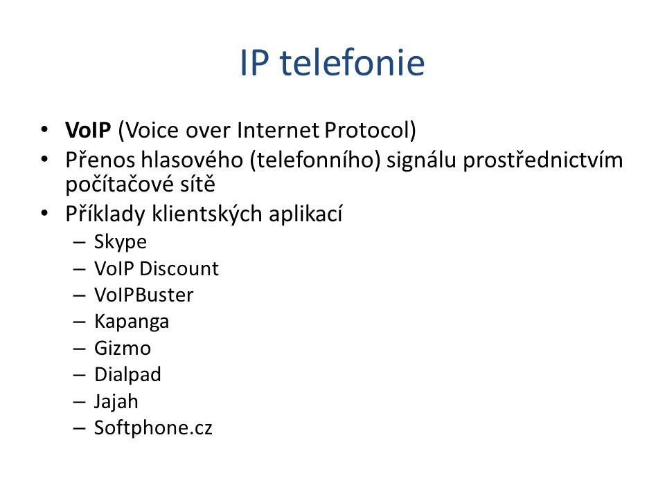 IP telefonie VoIP (Voice over Internet Protocol) Přenos hlasového (telefonního) signálu prostřednictvím počítačové sítě Příklady klientských aplikací