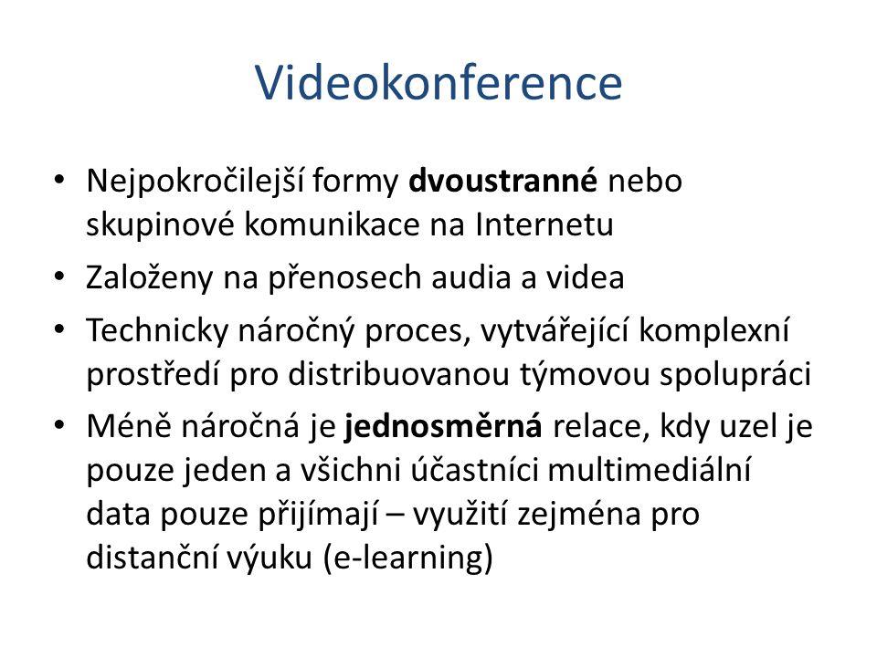 Videokonference Nejpokročilejší formy dvoustranné nebo skupinové komunikace na Internetu Založeny na přenosech audia a videa Technicky náročný proces,