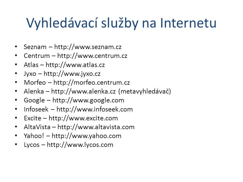Vyhledávací služby na Internetu Seznam – http://www.seznam.cz Centrum – http://www.centrum.cz Atlas – http://www.atlas.cz Jyxo – http://www.jyxo.cz Mo