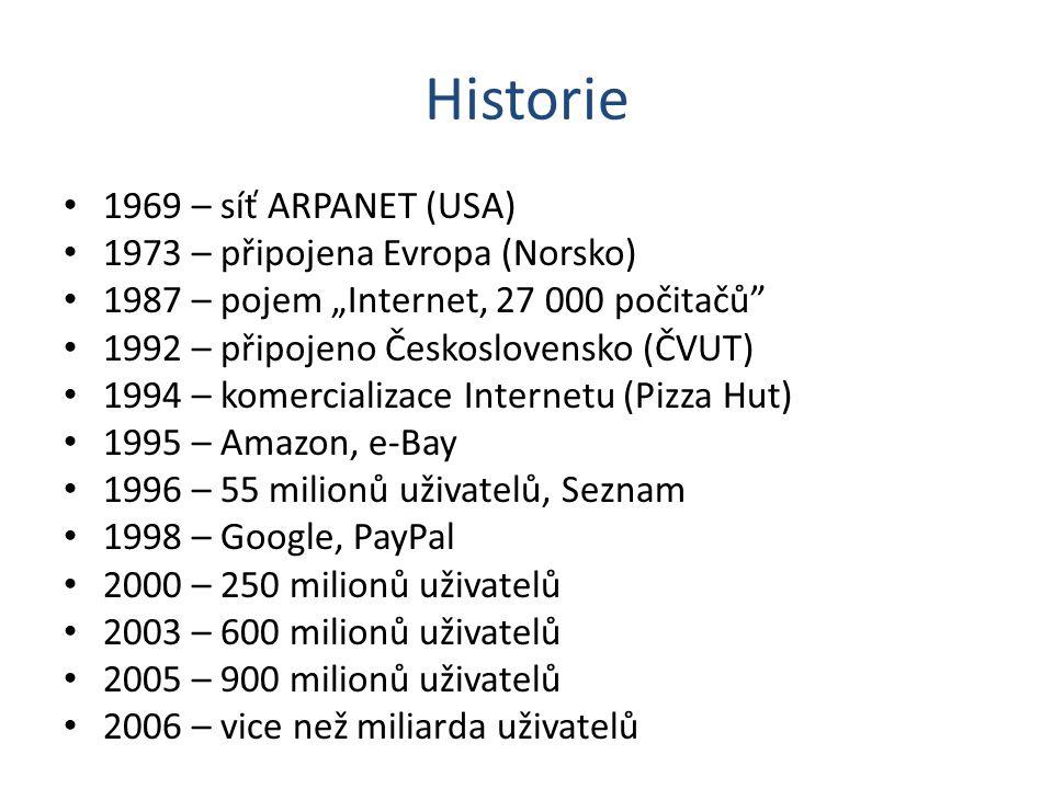 """Historie 1969 – síť ARPANET (USA) 1973 – připojena Evropa (Norsko) 1987 – pojem """"Internet, 27 000 počitačů"""" 1992 – připojeno Československo (ČVUT) 199"""
