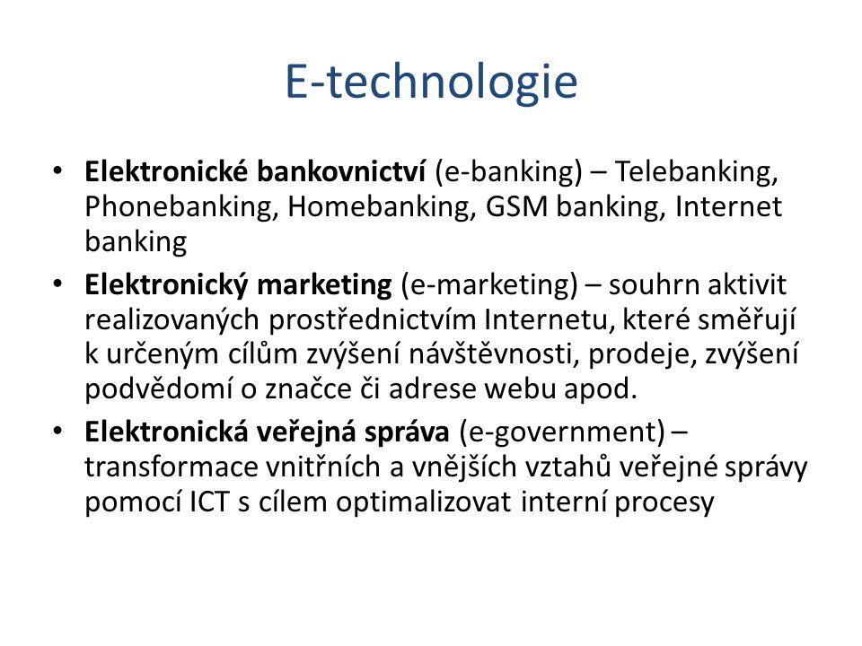 E-technologie Elektronické bankovnictví (e-banking) – Telebanking, Phonebanking, Homebanking, GSM banking, Internet banking Elektronický marketing (e-