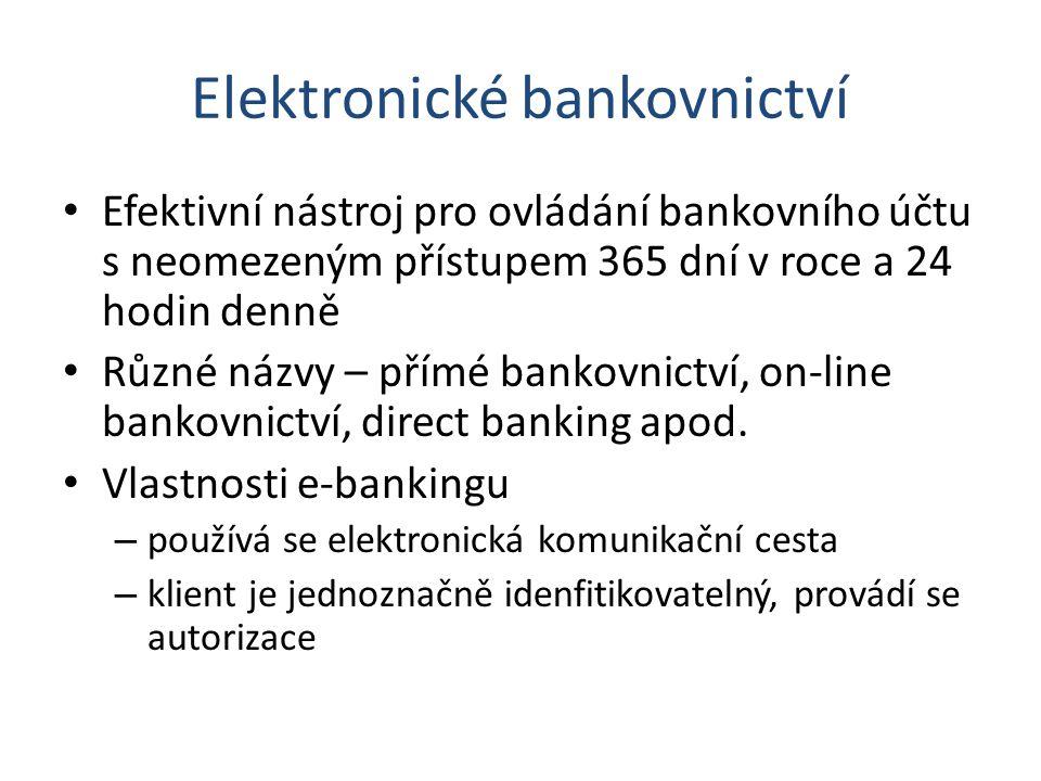 Elektronické bankovnictví Efektivní nástroj pro ovládání bankovního účtu s neomezeným přístupem 365 dní v roce a 24 hodin denně Různé názvy – přímé ba