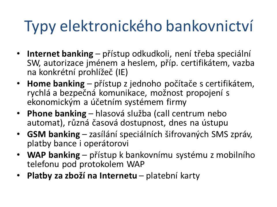 Typy elektronického bankovnictví Internet banking – přístup odkudkoli, není třeba speciální SW, autorizace jménem a heslem, příp. certifikátem, vazba