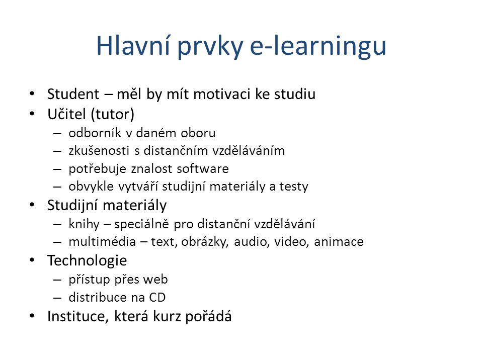 Hlavní prvky e-learningu Student – měl by mít motivaci ke studiu Učitel (tutor) – odborník v daném oboru – zkušenosti s distančním vzděláváním – potře