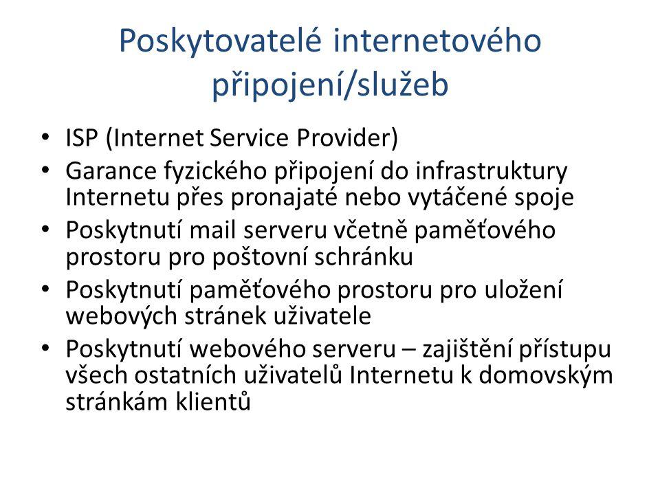 Poskytovatelé internetového připojení/služeb ISP (Internet Service Provider) Garance fyzického připojení do infrastruktury Internetu přes pronajaté ne