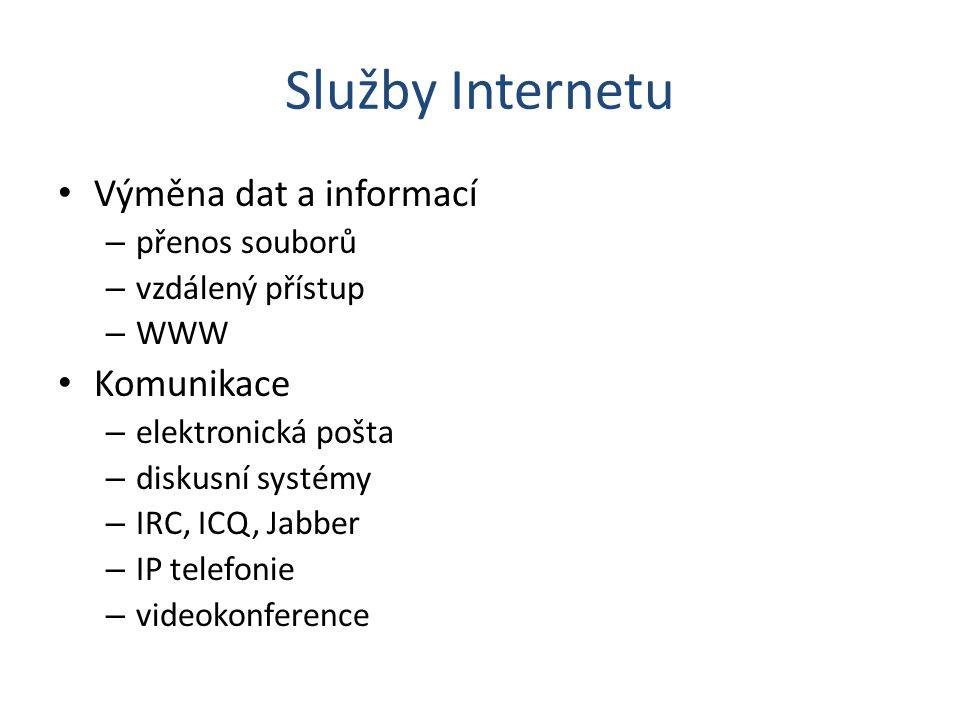 Služby Internetu Výměna dat a informací – přenos souborů – vzdálený přístup – WWW Komunikace – elektronická pošta – diskusní systémy – IRC, ICQ, Jabbe
