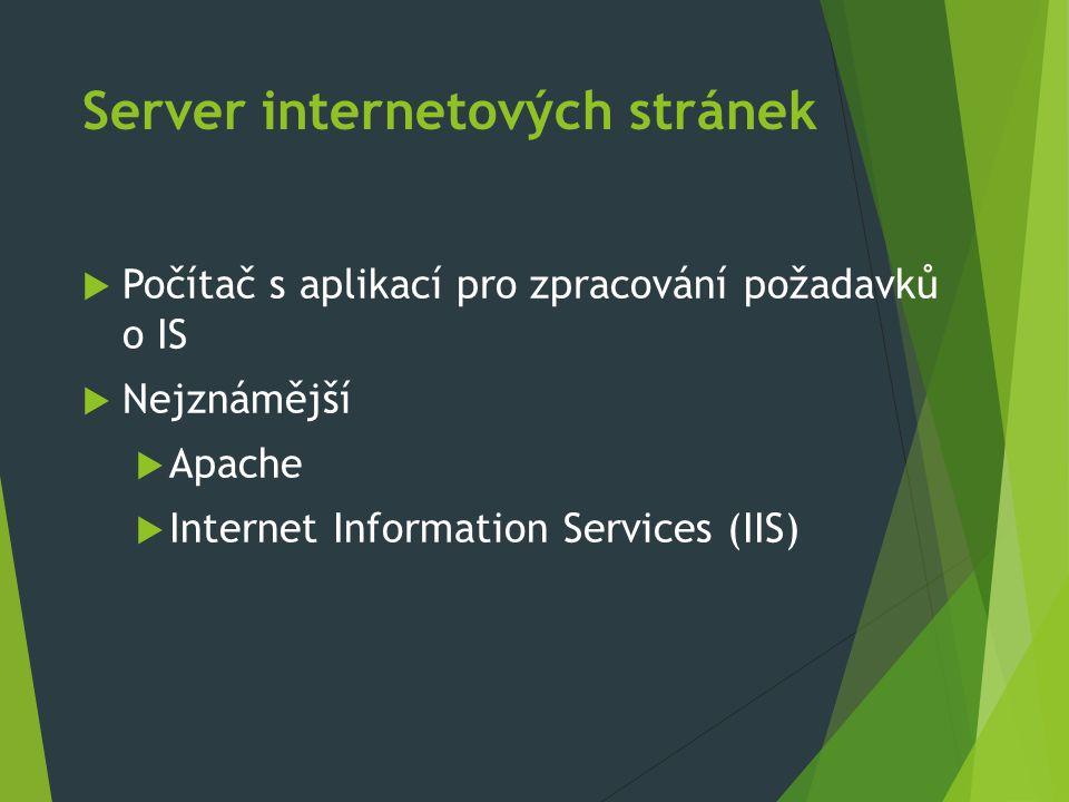 Server internetových stránek  Počítač s aplikací pro zpracování požadavků o IS  Nejznámější  Apache  Internet Information Services (IIS)