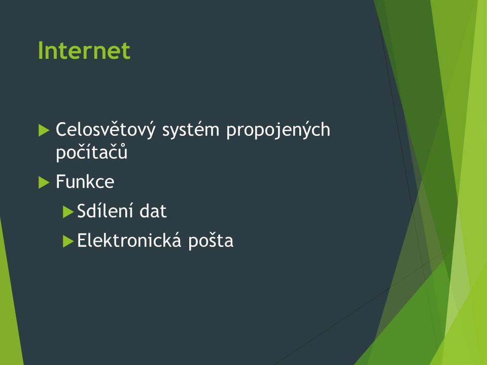 Celosvětový systém propojených počítačů  Funkce  Sdílení dat  Elektronická pošta