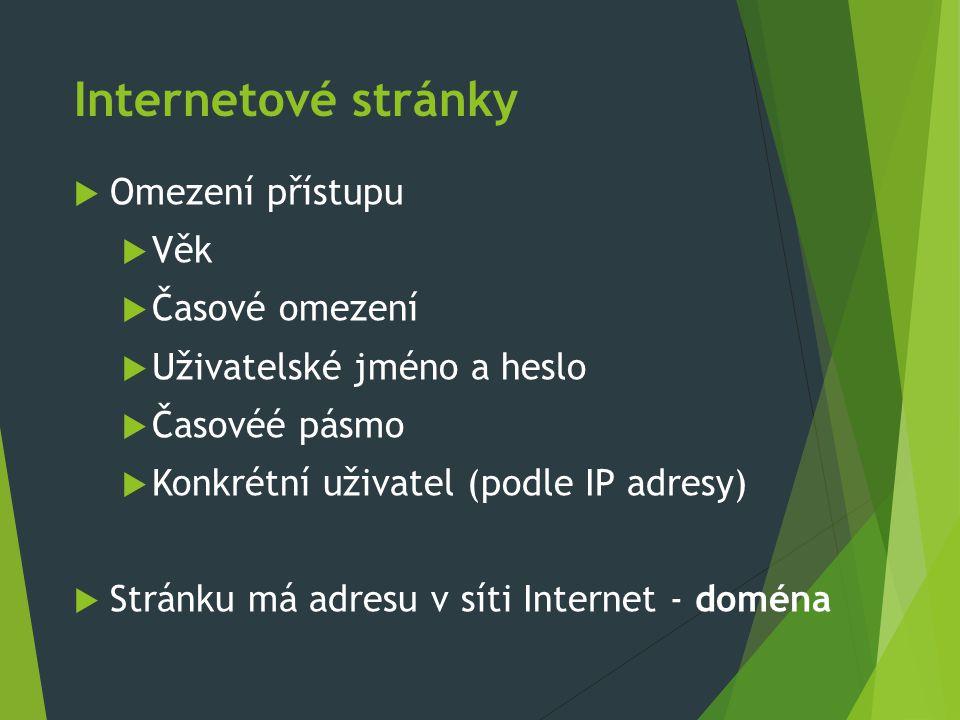 Internetové stránky  Omezení přístupu  Věk  Časové omezení  Uživatelské jméno a heslo  Časovéé pásmo  Konkrétní uživatel (podle IP adresy)  Str