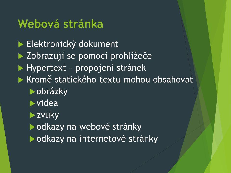 Webová stránka  Elektronický dokument  Zobrazují se pomocí prohlížeče  Hypertext – propojení stránek  Kromě statického textu mohou obsahovat  obrázky  videa  zvuky  odkazy na webové stránky  odkazy na internetové stránky