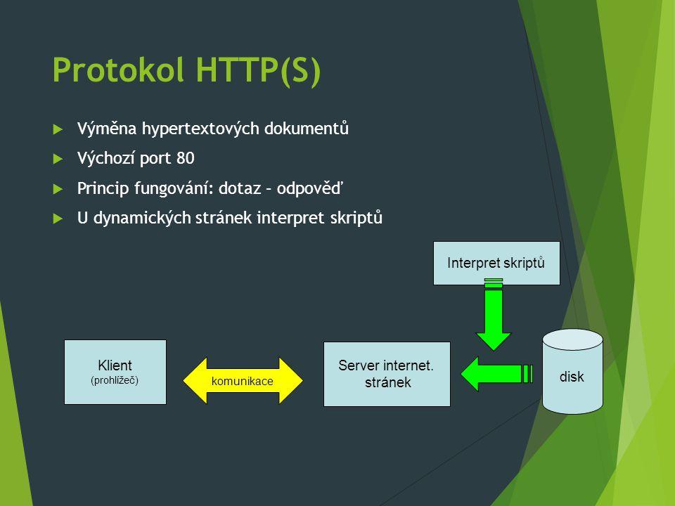 Protokol HTTP(S)  Výměna hypertextových dokumentů  Výchozí port 80  Princip fungování: dotaz – odpověď  U dynamických stránek interpret skriptů Klient (prohlížeč) Server internet.