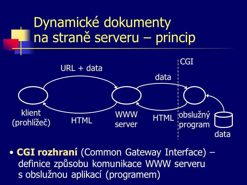 Dynamické dokumenty na straně serveru – princip klient (prohlížeč) WWW server URL + data HTML obslužný program data HTML CGI data CGI rozhraní (Common Gateway Interface) – definice způsobu komunikace WWW serveru s obslužnou aplikací (programem)
