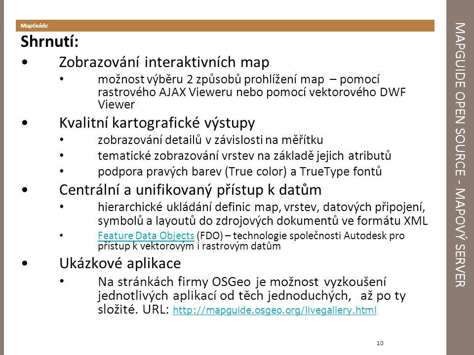 MAPGUIDE OPEN SOURCE - MAPOVÝ SERVER MapGuide Shrnutí: Zobrazování interaktivních map možnost výběru 2 způsobů prohlížení map – pomocí rastrového AJAX