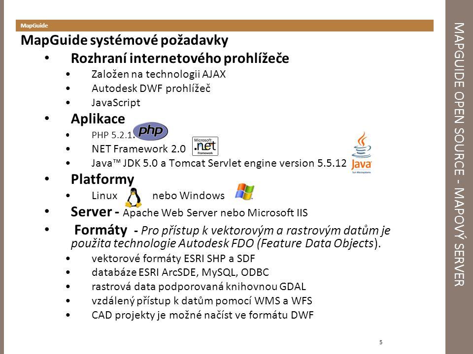 MAPGUIDE OPEN SOURCE - MAPOVÝ SERVER MapGuide MapGuide systémové požadavky Rozhraní internetového prohlížeče Založen na technologii AJAX Autodesk DWF
