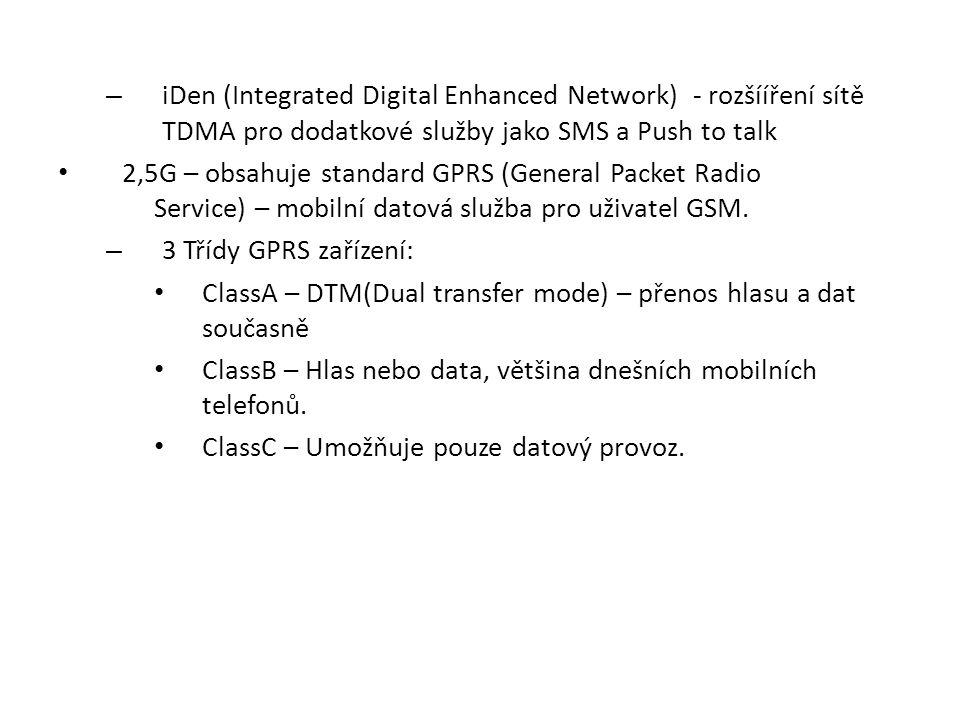 – iDen (Integrated Digital Enhanced Network) - rozšííření sítě TDMA pro dodatkové služby jako SMS a Push to talk 2,5G – obsahuje standard GPRS (Genera