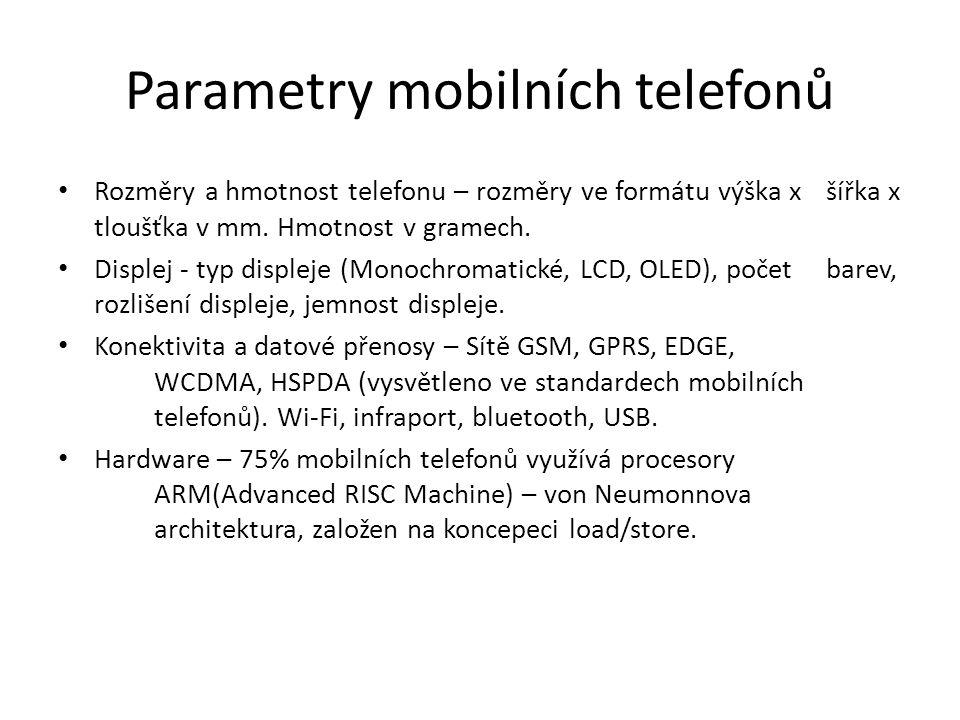 Parametry mobilních telefonů Rozměry a hmotnost telefonu – rozměry ve formátu výška x šířka x tloušťka v mm. Hmotnost v gramech. Displej - typ displej