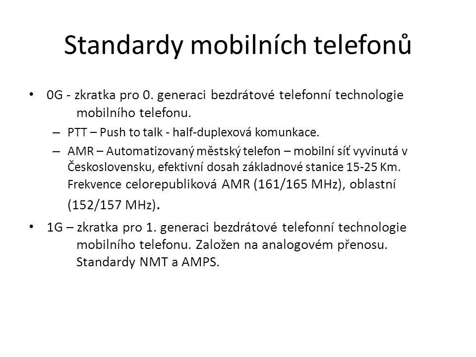 – NMT – Dvě varianty NMT-450(450MHz) a NMT-900(900MHz) – provoz na více kanálech, využití Nokia a Ericsson, využívá plný duplex, velikost buňky 2-30 Km.