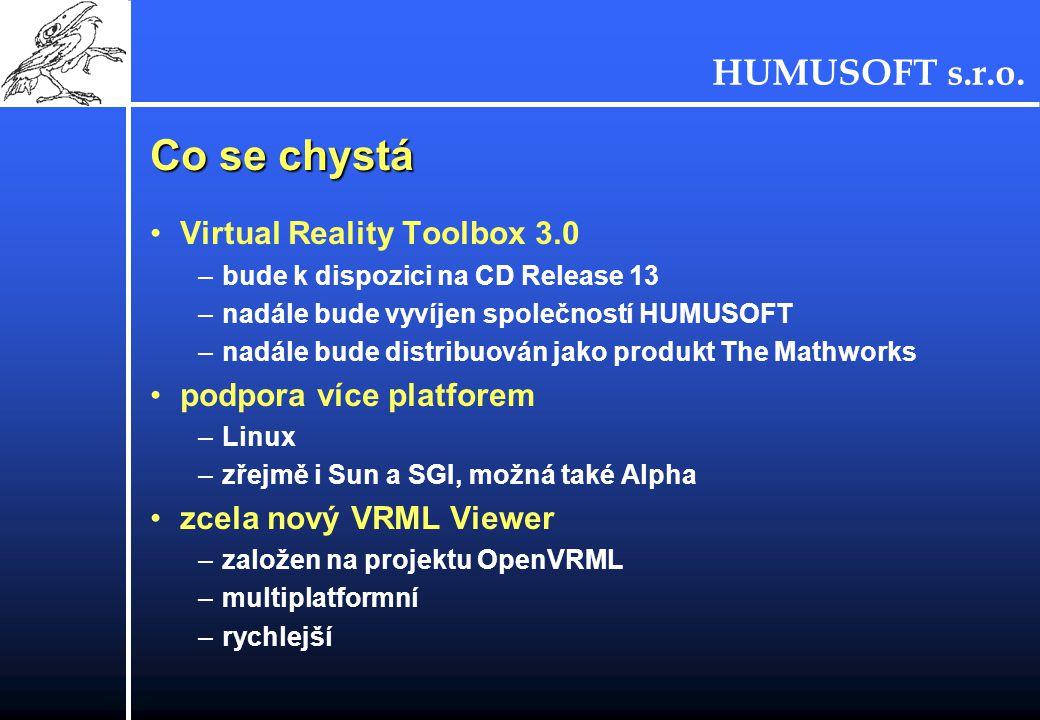 HUMUSOFT s.r.o. Co se chystá Virtual Reality Toolbox 3.0 –bude k dispozici na CD Release 13 –nadále bude vyvíjen společností HUMUSOFT –nadále bude dis